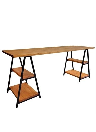 Woodesk Kamelya Masif Tik Renk 180x60 Çalışma Masası Renkli